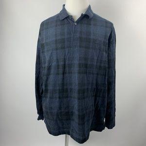 Nautica XL Long Sleeve Polo Shirt WARM Thick Blue